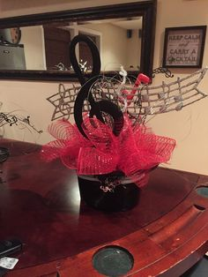 Nice Jazz/Music Themed centerpiece #jazzmusic #jazzparty #retirementparty #retirement #partyideas #specialoccasion  #partydecor #partydecorations 50s Party Decorations, Music Notes Decorations, Music Decor, Bridal Shower Decorations, Music Centerpieces, Banquet Centerpieces, Music Themed Parties, Music Party, Rockstar Party
