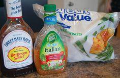 zingy slow cooker chicken - frozen chicken, sweet baby rays!, Italian dressing