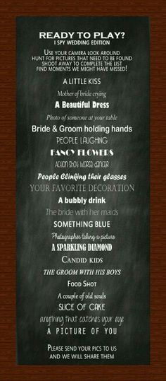 Put it in programs when they get to wedding