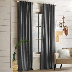 I love the Cotton Canvas Window Panel  on westelm.com  in light flax for bedroom if you don't need it too dark.  gray would also be pretty if it works with paint color