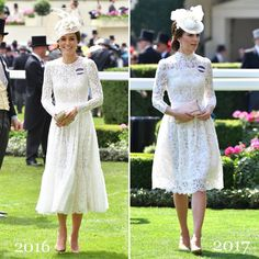 2016 // 2017. This is the second time Kate has attended Ascot since joining the royal family. The Duchess made her debut last year, again wowing in white, choosing to recycle her  Dolce & Gabbana lace dress. Today Kate wore an elegant white lace Alexander McQueen dress.