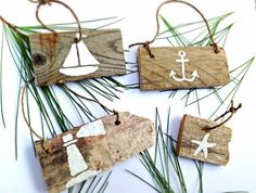 Set of 4-Nautical Christmas Ornaments-Beach Ornaments-Wooden Christmas Ornaments-Reclaimed Wood Ornaments-Hand Painted Christmas Decoration