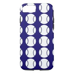 Cute spring blue and white baseball pattern iPhone 7 case