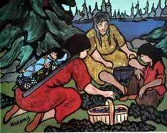 Nokomis painting of three Ojibwa women picking blueberries in August. Hero's Journey, 5 Image, Indigenous Art, Native Art, Nativity, North America, Native American, Photo Galleries, Culture