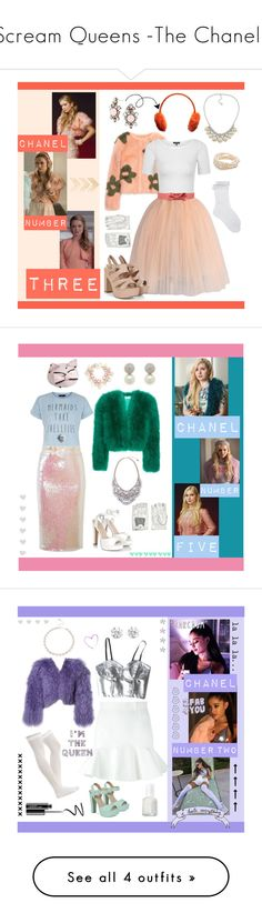 """Scream Queens -The Chanels"" by belledesfleurs ❤ liked on Polyvore featuring TV, ScreamQueens, Shrimps, Chicwish, RED Valentino, Topshop, Monsoon, Causse, Catherine Canino Jewelry and BaubleBar"