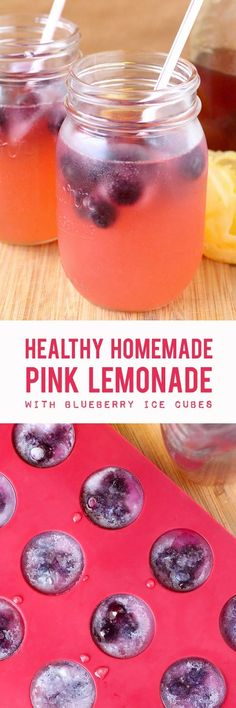 An easy recipe for healthy homemade pink lemonade using fresh squeezed lemon juice, raw honey, and blueberries!