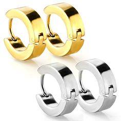 Men Jewelry Set Huggie Hinged Hoop Dangle Earrings, Stainless Steel, Hypoallergenic, Urban Hoop Earrings * Learn more by visiting the image link.