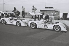 In the pits at Las Vegas, Hill's 2E with Hall's in front. This was the last race of the 1966 season and the series championship would be determined. Dave Friedman photo.