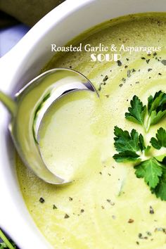 Roasted Garlic and Asparagus Soup-Deliciously creamy, yet healthy and easy to make soup with roasted garlic and asparagus.