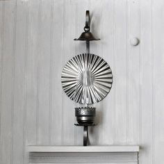 Brushed Metal Hurricane Wall Lamp - Candle Holder - With Reflector - Sconce -