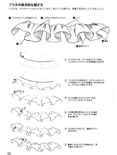 Tutorial on how to draw frills Ruffle reference Drawing Techniques, Drawing Tips, Drawing Sketches, Fashion Design Drawings, Fashion Sketches, Tutorial Draw, Dessin My Little Pony, Fashion Drawing Tutorial, Poses References
