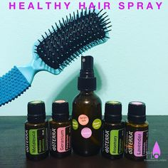 """""""Healthy hair spray: 2 drops of each oil (Rosemary, geranium, lavender and melaleuca), fill the rest with water. This sprays promotes healthy hair growth,…"""""""