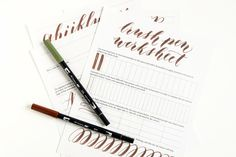Free Brush Pen Calligraphy Worksheet Lindsey Bugbee also has some reasonably priced calligraphy work sheets & video tutorials. Calligraphy Worksheet, Brush Pen Calligraphy, Calligraphy Tutorial, Learn Calligraphy, Lettering Tutorial, Brush Lettering, Modern Calligraphy, Crayola Calligraphy, Calligraphy Lessons