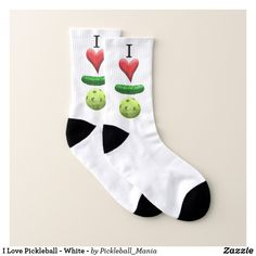 I Love Pickleball - White - Socks