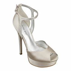 """My Wedding Day -- Nine West Peep toe pump with adjustable ankle strap closure on a 5 1/2"""" heel and 1"""" platform."""