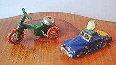 Vintage Tin Wind Up Toys, Tin Tricycle With Bell, Tin And Celluloid Car With Boy, Made in Japan And Occupied Japan Side Of Face, Great Birthday Gifts, Toy Collector, Tricycle, Fathers Day Gifts, Vintage Toys, Gifts For Him, Tin, Arms