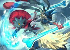 sa-dui: Pokemon : Mega Lucario vs Weavile. Lucario has the typing and mega; I like Weavile, but I think he'd lose