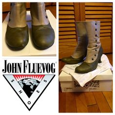 "John Fluevog Libby Smith green & taupe ankle boots John Fluevog Libby Smith boots, size 9 (true to size), in olive green & taupe, with midnight blue buttons (decorative only; these have inner side zipper for putting on & taking off). In very good used condition, just one very small scuff on right toe as seen in pic (and priced accordingly). 11"" tall, including approx. 2 3/4-3"" heel. With original box and dust bag. Bundle with two other items for automatic 25% discount before checking out… Libby Smith, Faerie Costume, John Fluevog Shoes, Bootie Boots, Ankle Boots, Pretty Shoes, Midnight Blue, Olive Green, Dust Bag"