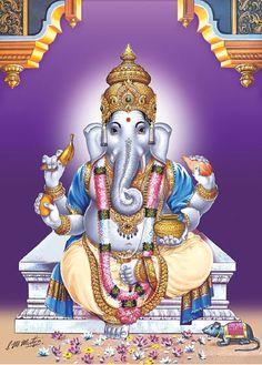 16 Names and forms of Lord Ganapathi - Sakthi Vikatan Ganesha Pictures, Ganesh Images, Shiva Art, Hindu Art, India Poster, Shiva Shankar, Lord Ganesha Paintings, Shri Ganesh, Jai Hanuman