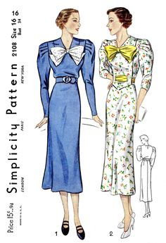 1930s 30s day dress Simplicity 2108 leg of mutton sleeves bow neckline vintage sewing pattern reproduction