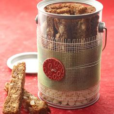 Wrapped Plastic Container - great for giving larger amounts of home baked goodies - also a link to Maple Cookie Sticks; Courtesy of Better Homes & Garden