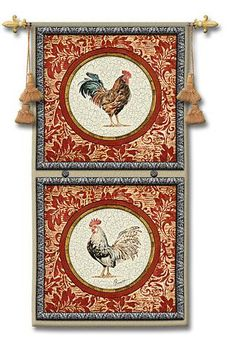 $99.99 Fine Art Tapestries Plummage II Rooster Wall Panel Tapestry by Artist Chad Barrett of a rooster and a hen in square panels backed by a scroll motif. Perfect for your french country kitchen decor.