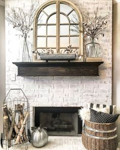Graceful Farmhouse Fireplace Decor Or Simple Fall Farmhouse Style Mantle By Whimsy Girl Design Shop This Living Room Remodel, Living Room Decor, Dining Room, Farmhouse Style, Farmhouse Decor, Modern Farmhouse, Industrial Farmhouse, Farmhouse Fireplace Mantels, Fireplaces