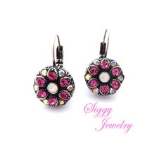 Swarovski crystal cluster flower earrings, pink and AB accents, multi-stone lever back closure, Siggy Jewelry