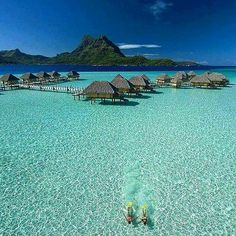 My dream vacation is to go to Bora Bora & stay in a an over water bungalow! Great Vacation Spots, Vacation Places, Dream Vacations, Beautiful Places In The World, Beautiful Beaches, Pearl Beach Resort, Pacific Beach, Beaches In The World, Vacation Pictures