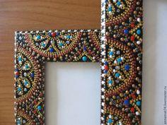 "Рамка для фото ""Византия"". - рамка для фото,фоторамка ручной работы,фоторамка Glass Painting Designs, Dot Art Painting, Paint Designs, Mandala Dots, Mandala Design, Aboriginal Dot Art, Painted Picture Frames, African Art Paintings, Mandala Art Lesson"