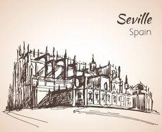 Bosquejo de España ciudad Sevilla. La Catedral de Santa María de la sede. - ilustración de arte vectorial