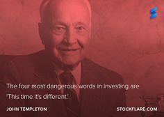 """#quote from the Sir John Templeton, a pioneer of mutual funds investing outside the US. The firm he founded is now part of Franklin Templeton.  """"The four most dangerous words in investing are: This time it's different.""""  We'll forgive him the error that it's 5 words! The wisdom is clear. Don't get caught up in the hype or fad of the day.  #stocks #investing"""