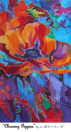 Choosing Poppies, a silk painting by Natalia Charapova.