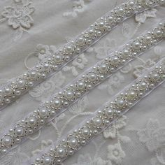 SALE Pearl Beads Lace Trims in Ivory For Weddings by lacelindsay