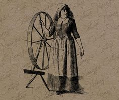 Antique Spinning Wheel Digital Graphics Instant by nannyscottage