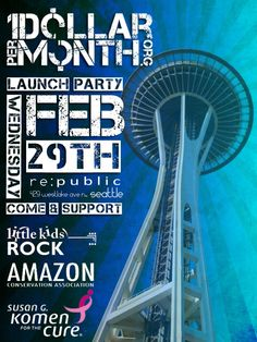 Get ready Seattle!  February 29th Dollar Per Month™ will be hosting its second launch party to raise money and awareness at re:public. Please tell your friends and spread the word as we support these amazing causes!  This months featured charities are;    Amazon Conservation Association  Road construction, logging, and land clearing for agriculture endanger the health of the Amazon rainforest. The Amazon Conservation Association aims to protect the forests by creating a network for…