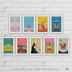 Wes Anderson Poster Set. Set of 9 Prints. Movie Art Prints.