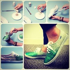 Keds DIY glittered shoes-make the insides a colored fabric, its cute :)