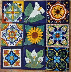 "9 Mexican Talavera tiles hand-painted 4 ""X Mexican Folk Art, Mexican Tiles, Handmade Tiles, Tropical Decor, Tile Art, Tile Patterns, Ceramic Art, Ceramic Pottery, Decoupage"