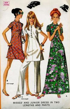 Vintage 1970s McCalls 2371 Sewing Pattern Nehru Collar Maxi Mini Dress Tunic & Pants size Extra Small Bust 32 by SewMrsP