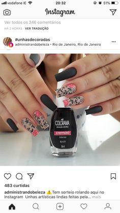 , negro F: almendra Karma Nails, J Nails, Perfect Nails, Gorgeous Nails, Pretty Nails, Acrylic Nail Art, Gel Nail Art, Trendy Nail Art, Manicure E Pedicure