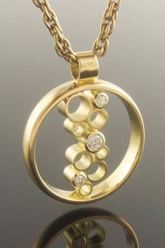 Diamond waterfall circle pendant