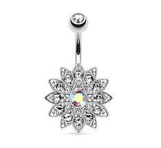 Aurora Borealis Gem Flower Belly Ring