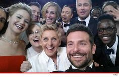 Ellen DeGeneres does NOT own the picture that broke Twitter ... unless he signed his rights away, the owner of the famous Oscar pic is Bradley Cooper.  The person who snaps the shot owns the picture....