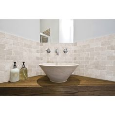 Shop Anatolia Tile Chiaro Tumbled Marble Tumbled Natural Stone Mosaic Subway Wall Tile (Common: 12-in x 12-in; Actual: 10-in x 12-in) at Lowes.com