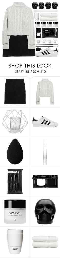 """black & white..."" by cinnamon-and-cocoa ❤ liked on Polyvore featuring Monki, Bamford, Bloomingville, adidas, beautyblender, Christofle, e.l.f., NARS Cosmetics, Gio Pagani and ROOM COPENHAGEN"