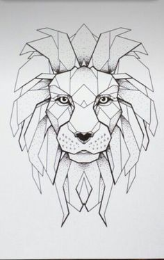 geometric lion drawing - Pesquisa Google                                                                                                                                                     More