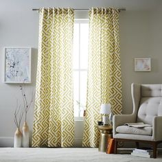 Cotton Canvas Ikat Key Curtain from West Elm