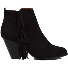 Stomp around in the Fringed Black Heeled Ankle Booties features an almond toe, chunky heel, pull tab at back, invisible inner zipper closure, and cascading fri…