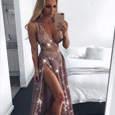 Sexy A-Line Spaghetti Straps Pink Sequin Prom Dress With Slit,Party Dresses,PDY0340